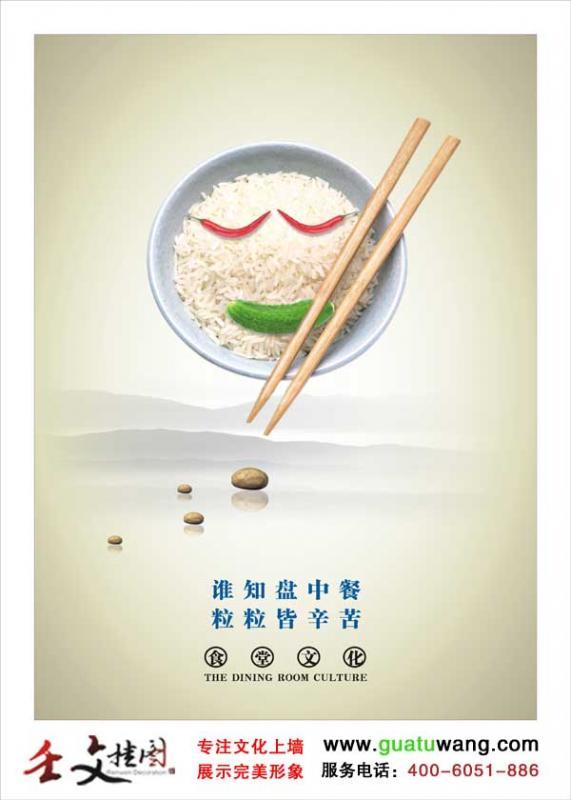 食堂节约粮食标语  谁知盘中餐-粒粒皆辛苦