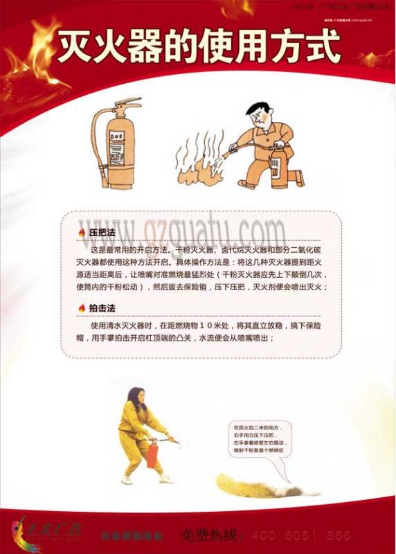 消防安全宣传牌 灭火器的使用方法 壬文挂图